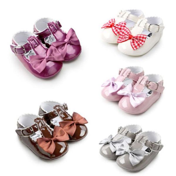 Kız Bebek Yürüyor Prenses Bowknots Ayakkabı Glitter Parti Elbise Düz Ayakkabı Üzerinde Kayma
