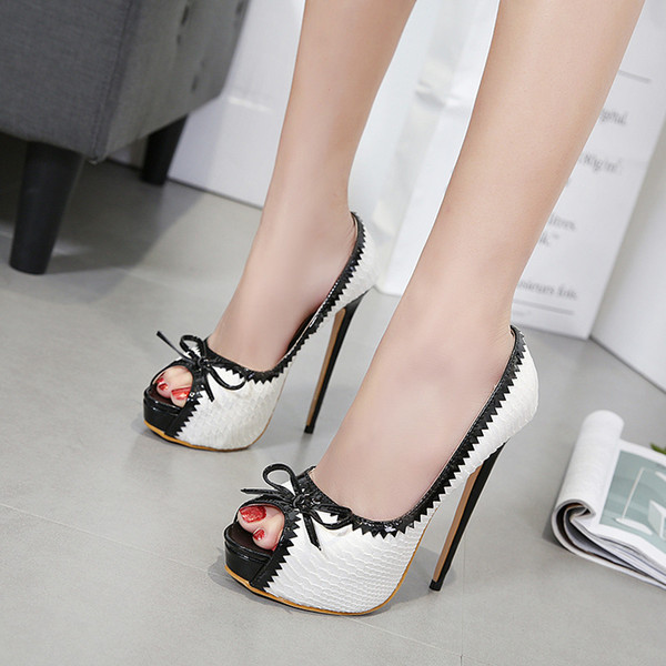 New Fashionl peep toe shoes for women 15cm high heels beautiful Shallow mouth bow wedding shoes thick heel shoes Sexy Plus Size Bridal heels