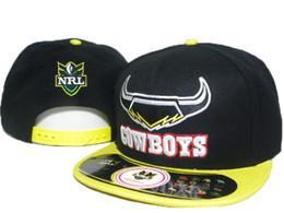 Sıcak siyah sarı Kuzey Queensland Cowboys nrl spor takımı şapka erkekler kadınlar için ayarlanabilir nrl snapbacks şapkalar top snapback güneş ...