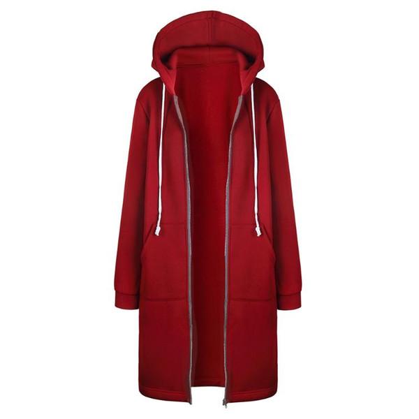 Kış Sıcak Zip-up Uzun Hoodies Kazak Kadınlar 2017 Sonbahar Katı Kapşonlu Cep Jumper Kapşonlu Coat S-XL 3 Renkler