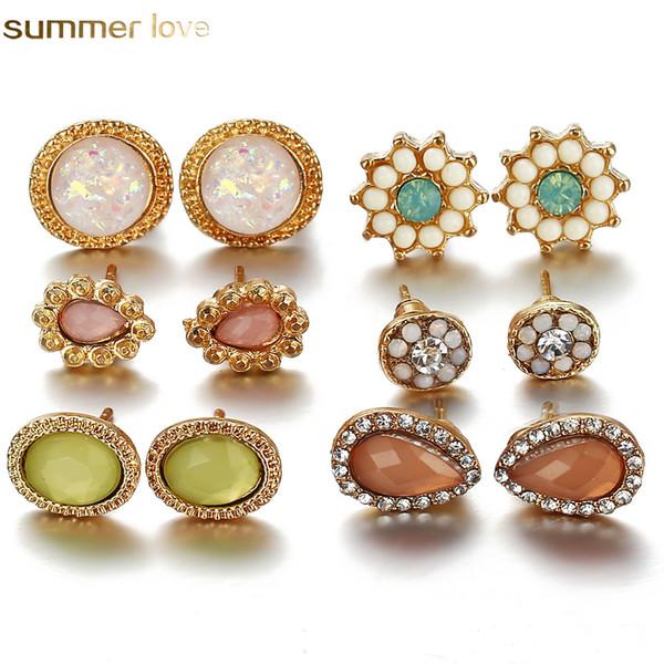 6 paires / ensemble strass pierre ronde boucles d'oreilles pour les femmes opale goutte d'eau oreille ensemble mode bijoux Simple bijoux fille cadeaux