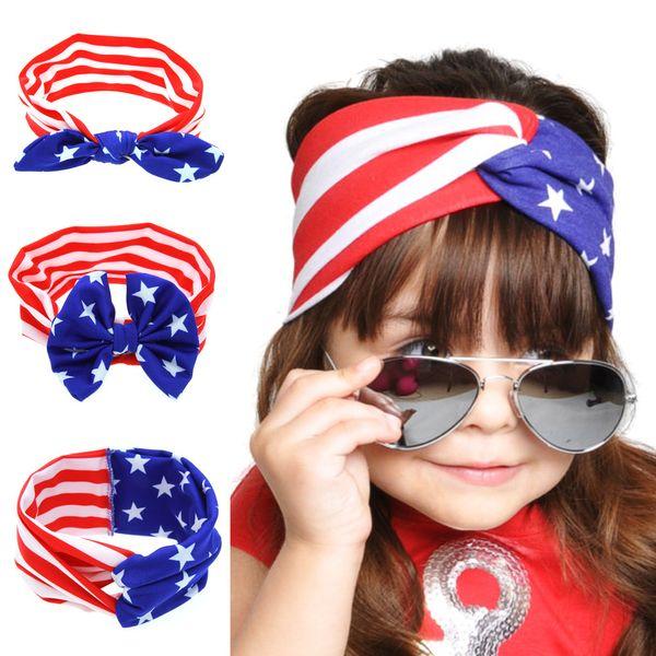 American Flag Headband 4 luglio USA Baby Turban Stretch fasce Bandana Turbante bambini Accessori per capelli spedizione gratuita C951