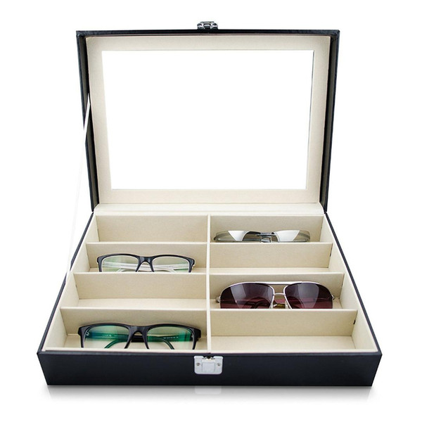 Anteojos Gafas de sol Caja de almacenamiento con ventana Gafas de cuero artificial Exhibición de almacenamiento Organizador Colector 8 Ranura