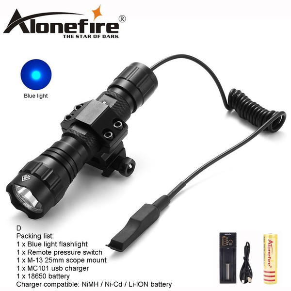 AloneFire CREE 501Bs blue light Tactical Flashlight Hunting camping Torch lighting Mount Tactical Remote switch for 1x18650 battery