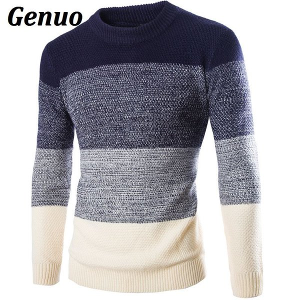 Patchwork Sweater Men 2018 Engrosamiento Pullover Sweater Hombre O-cuello Color Block Slim Fit Tejido Suéteres Hombres Jersey Genuo