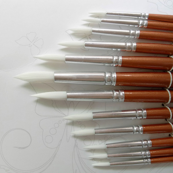 top popular Round Shape Nylon Hair Wooden Handle Paint Brush Set Tool For Art School Watercolor Acrylic Painting Supplies 12Pcs set 2021