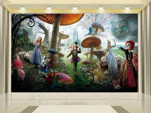 Compre Tamaño Personalizado 3d Foto Wallpaper Sala De Estar Niños Mural Alicia En El País De Las Maravillas 3d Pintura Fondo Papel Pintado No Tejido