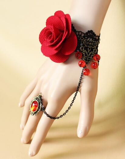 Hot style Goth vintage hand ornaments red rose vampire crystal beads hanging lady bracelet fashion classic elegant