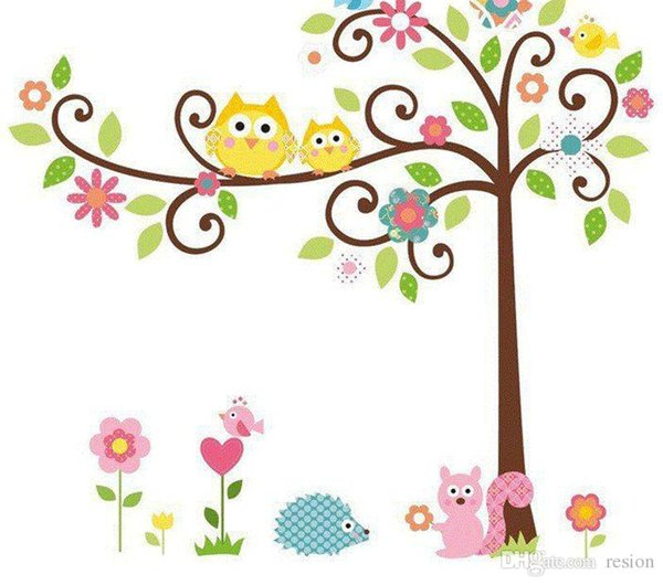 Wholesale New Hot Selling 50*70CM Cute Owl Tree wall sticker home decoration living room sticker free shipping