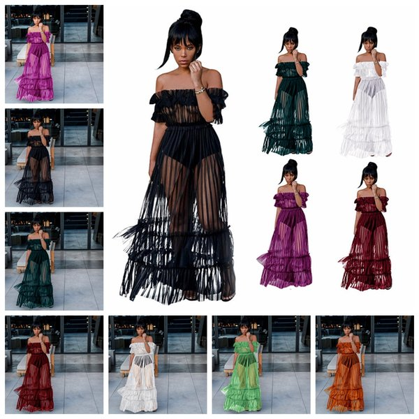 European new sexy perspective tube top bud silk yarn nightclub party dress, white, orange, red, purple, green, black, support mixed batch