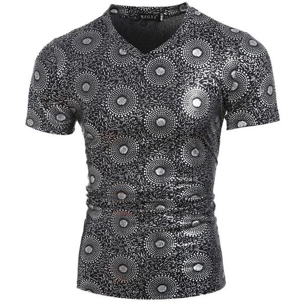 Sexy Or Bronzing T Shirt Hommes 2018 Été Nouvelle T-shirt à Manches Courtes T-shirt Homme Super Slim T-shirts T-shirt à Imprimé Floral