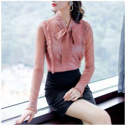 Новые Корейские Женщины Блузка Мода V-Образным Вырезом С Длинным Рукавом Шифон Блузки