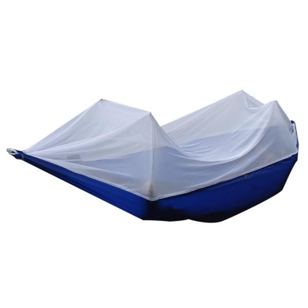 Alta resistência portátil tecido de pára-quedas Hammock pendurado cama com Mosquiteiro para acampamento ao ar livre viagem azul