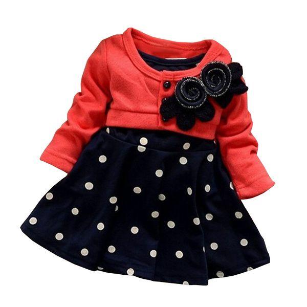 Cola 100% algodón Niña vestidos de navidad ropa para niños Princesa encantadora Dos Tonos Empalme Vestido de lunares