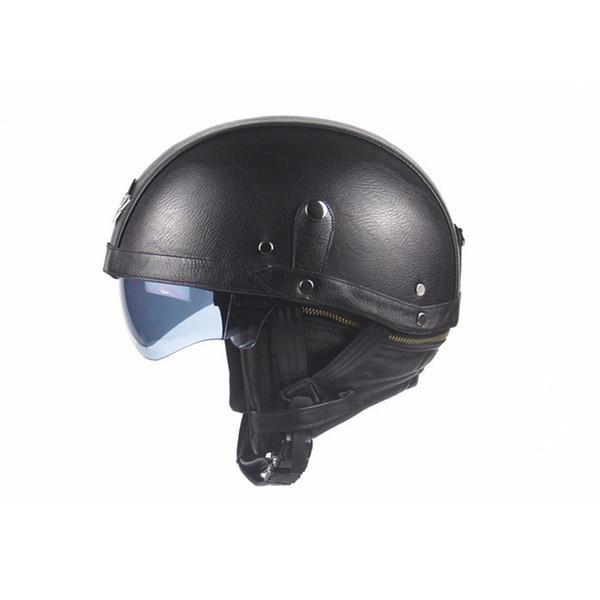Motorcycle Helmet Black Adult Leather Helmets For Motorcycle Retro Half Cruise Helmet Prince Moto Capacete DOT Approved TTKB001