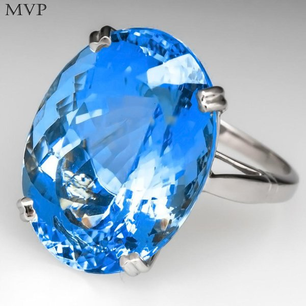 FANALA Vintage Antique Artificial Gem Goose Ring Fashion Jewelry Blue Sea Ring For Women Wedding Anniversary Rings