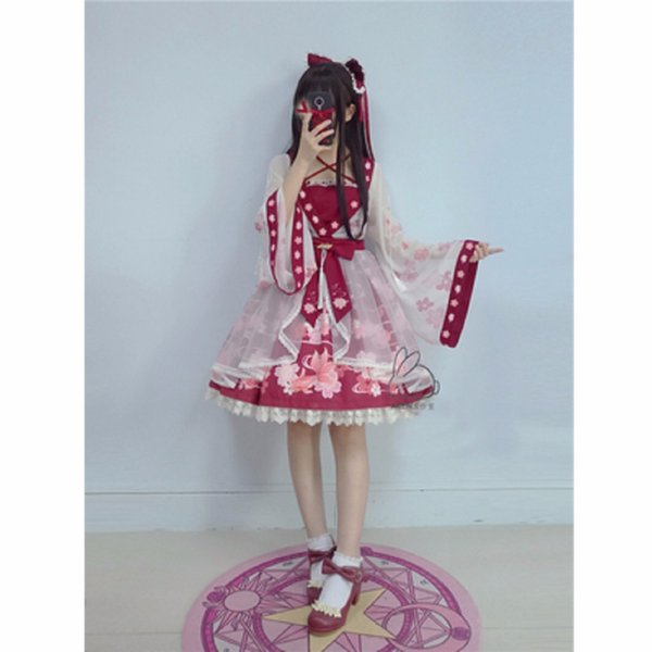 Lolita Chiffon Dress Goldfish Embroidery Printed Floral Kawaii Cute Chinese Style Bow Princess Dresses Cosplay Costumes