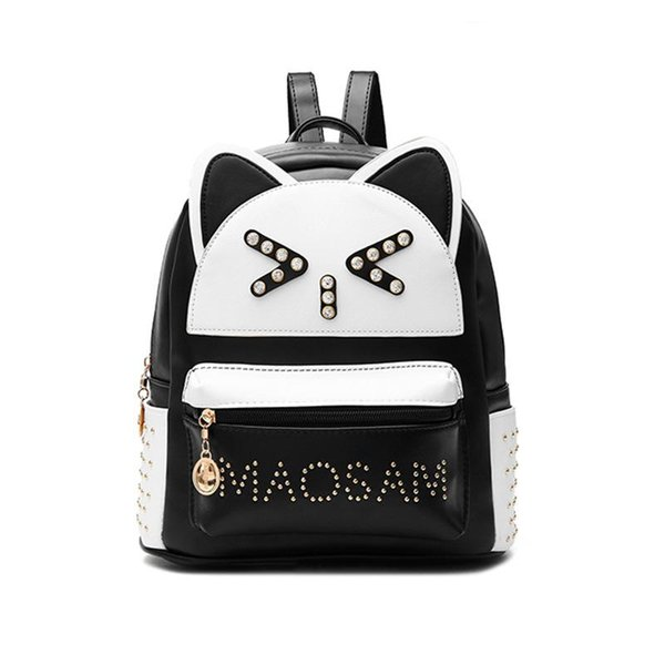 Backpacks Women Custom Stylish cartoon Bags Panda Kid's School Bag For Boys Girls Black Leather Backpack Mini Schoolbag