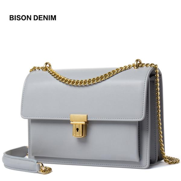 BISON DENIM High Quality Women Handbag Genuine Leather Shoulder Bag for Women Vintage Lock Female Crossbody bag bolsa N1401
