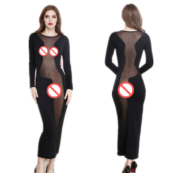 Sexy Lingerie Babydoll Dress Erotic Ladies Prom Long Dress Clubwear Night Gown Women Transparent Lace Nightwear Sheer Mesh Sleepwear