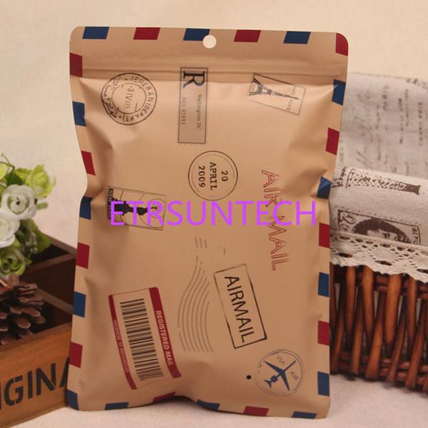 Retro Envelope Design Zip Lock Aluminum Foil Reclosable Bag for Underwear Underpants Storage Mylar Foil Ziplock Packaging Bag QW7604