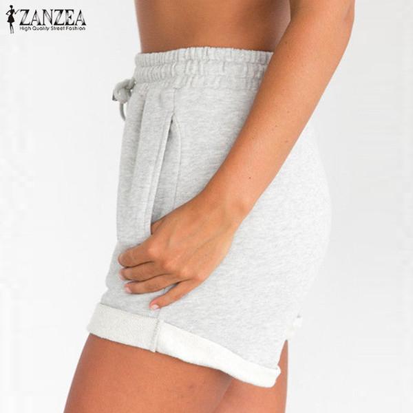2018 ZANZEA Verão Quente Shorts Mulheres Shorts Das Senhoras Bolsos Praia Lace Up de Cintura Alta Férias Preto Cinza Calças Plus Size