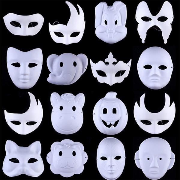 Cadılar bayramı Topu Beyaz El Boyalı DIY Yüz Maskesi Çevre Koruma Hamuru Erkek Kadın Hayvan Pekin Opera Maskeleri 1 1sx bb