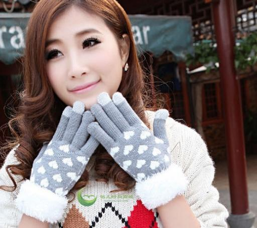 Winter Warm Gloves Fashion Love Pattern Ladies Fur Mouth Five Fingers Gloves Knitted Finger Touch Screen