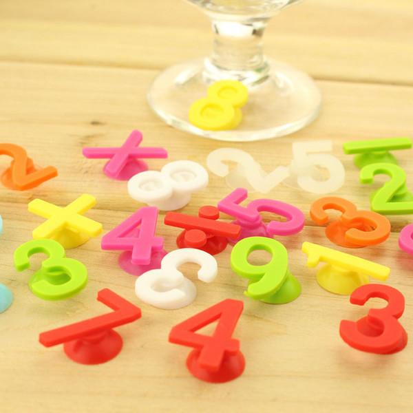 14 teile / satz Zahlen Weingläser Marker Trinken Tag Set Tasse Recognizer Silikon Flasche Trinken Label Für Party Dekore QW8540