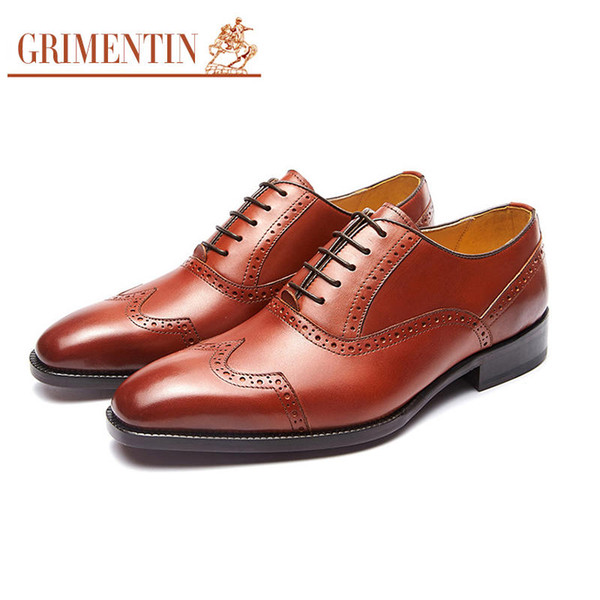 GRIMENTIN Hot Sale Brand Custom Handmade Mens Shoes Genuine Leather Oxford Shoes Italian Fashion Formal Business Wedding Men Shoes Size:6 12 Skechers