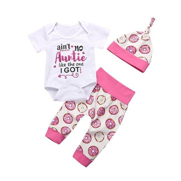 Top Bodysuit + Long Pants + Hat Outfits Clothes 0-24M On Stock 3PCS Infant Newborn Baby Girls Clothing Suit