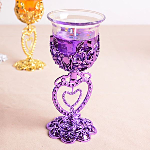 Goblet Candle Holder Heart Flower For Birthday Wedding