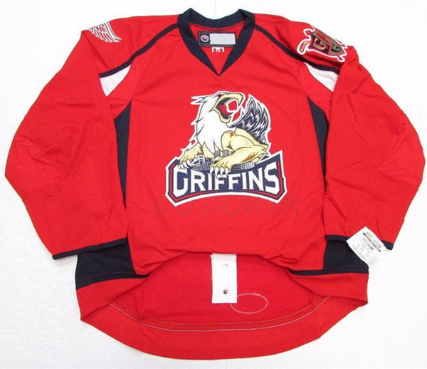 Grand rapid griffin red ice hockey jer ey men titched cu tom any number and name jer ey, Black;red