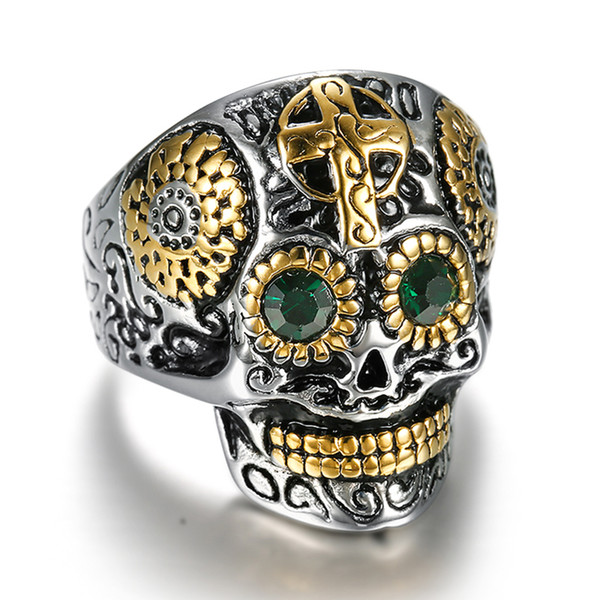 Punk 316L Stainless Steel Gothic Gold Carving Skull Mask Jesus Cross Ring Biker Hip hop Rock Unique Jewelry for Male Cool Gift
