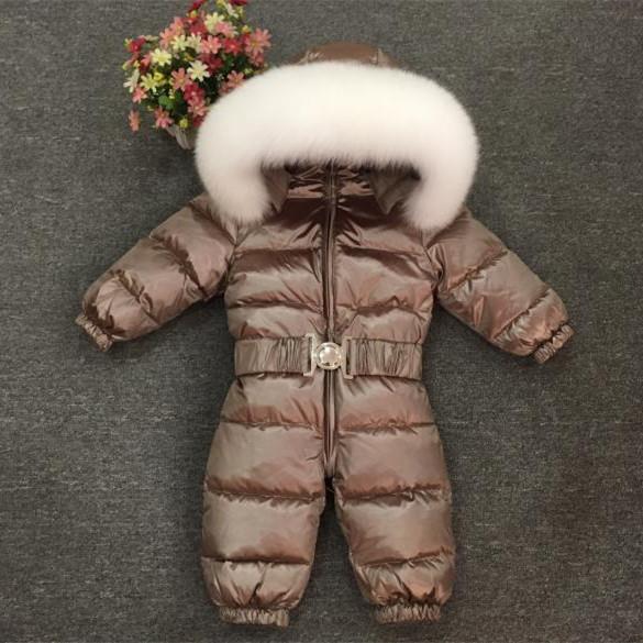 2018 Kış Çocuk Giyim Bebek Erkek Kız Giysileri Tulum Tulum Ördek Aşağı Tulumlar Gerçek Kürk Yaka Çocuk Kabanlar Çocuk Snowsuit 1-5 T