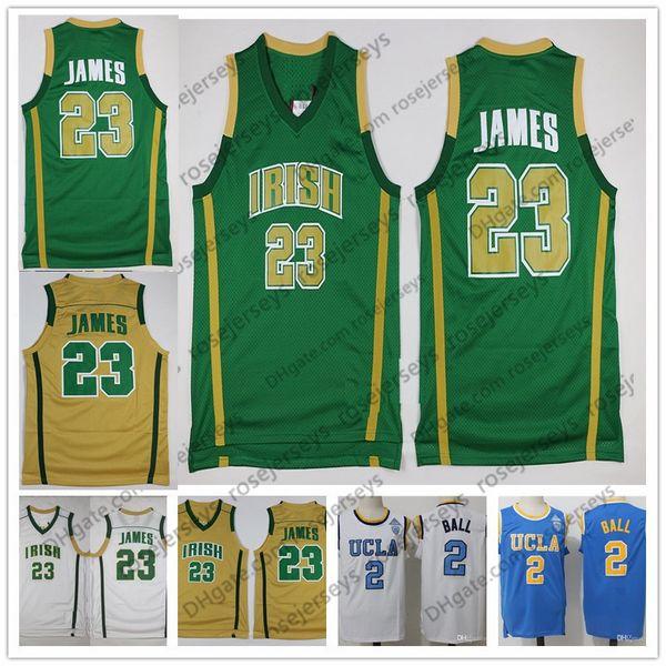 High School Irish #23 LeBron James Gold Green Jersey 2018 LA Retro White Yellow Purple NCAA UCLA #2 Lonzo Ball 0 Kyle Kuzma