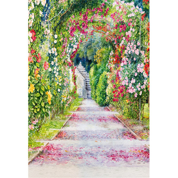 Garden Wedding Floral Backdrop for Photography Printed Spring Flowers Colorful Blossoms Kids Children Outdoor Scenic Photo Studio Background