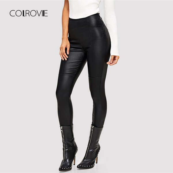 5f23e755462b COLROVIE Black PU Skinny Leather Pants Office Lady High Waist Trousers  Women Clothes 2018 Autumn Stretchy Womens Pencil Pants
