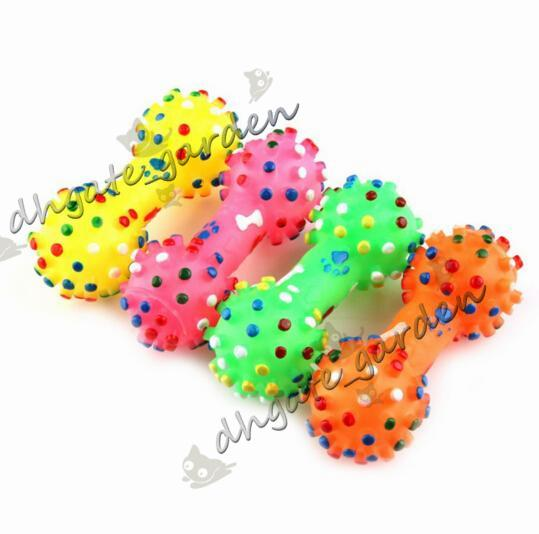 Wholesale Pet Dog Cat Puppy Colors Sound Polka Dot Squeaky Rubber Dumbbell Chewing Bone Shape Toy Color Send Randomly