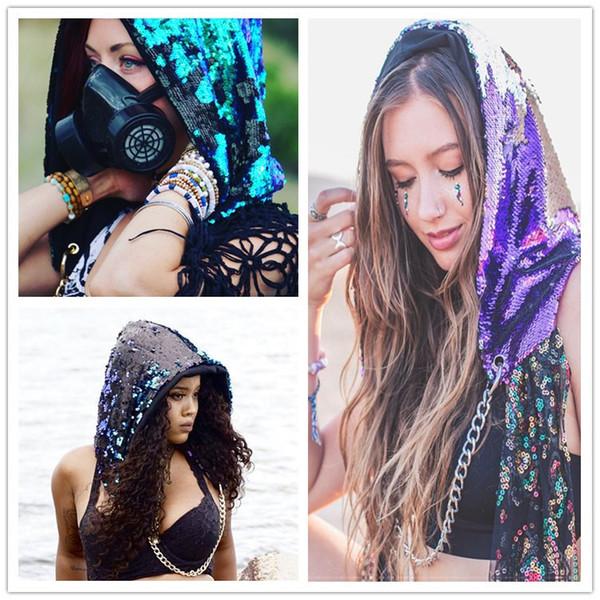 Festive Glitter Mermaid Sequins Hat Magical Reversible Sequin Cap Head Hood Dress Up Party Headwear 2018 Halloween Christmas Costume Cap Hot