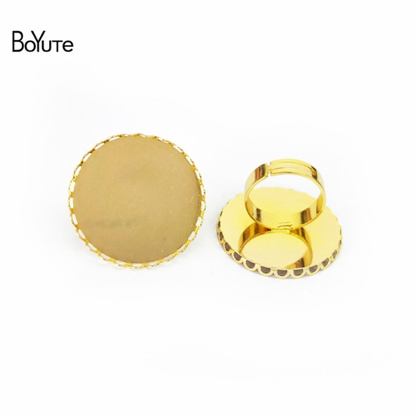 BoYuTe 20Pcs 7 Colors 30MM Round DIY Cabochon Base Settings Ring Blank Bezel Tray Jewelry Findings & Components