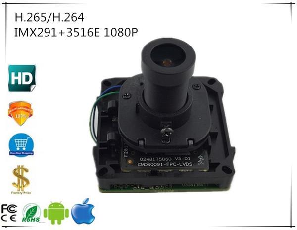 IMX291 + 3516E Module caméra IP 1080P H.265 / H.264 Carte avec objectif M12 IRC FishEye Panorama 180 degrés 2.8-12mm XMEYE CMS ONVIF