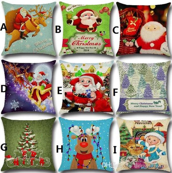 Yüksek Kalite 21 stil Keten Merry Christmas Minder Kapak Noel Kare Ev Mr Ren Geyiği Dekore Için Minder Yastık Kılıfı Atın Yastık Kapak wn301