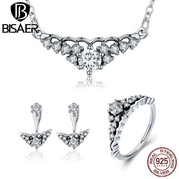 BISAER 100% 925 Sterling Silver Jewelry Sets Fairytale Tiara Princess Crown 925 Silver Jewelry Set Fine Bijoux GUS051