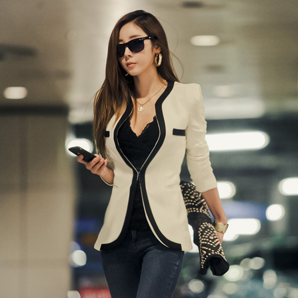 Fashion Ladies Jacket Coat Women's Tops For Femme Outwear Casual Suit Classic Black And White Blaiser Patchwork Slim Fit Coat