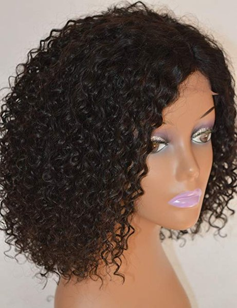 Afro Kinky Curly Lace frontal Wig For African Americans 100% Brazilian Remy Human Hair Glueless Full Wigs 180% density Natural color