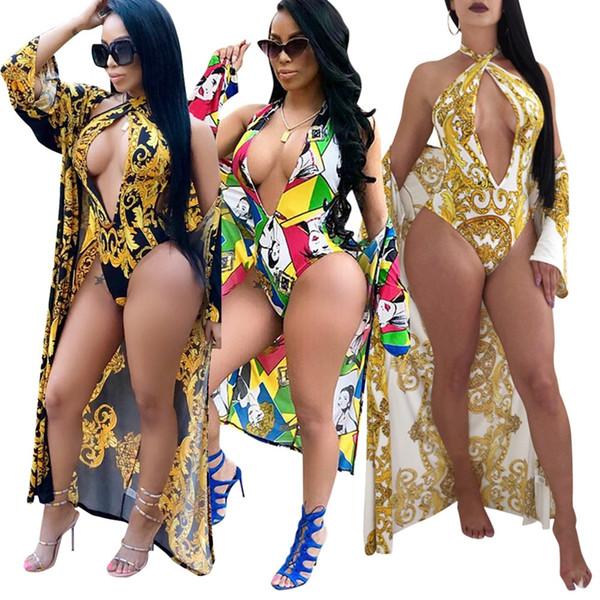 Conjunto de bikini de cintura alta de una pieza de Seaside de verano + Long Beach Cover Up Shorts Estampado floral Traje de baño atractivo S / M / L / XL / 2XL