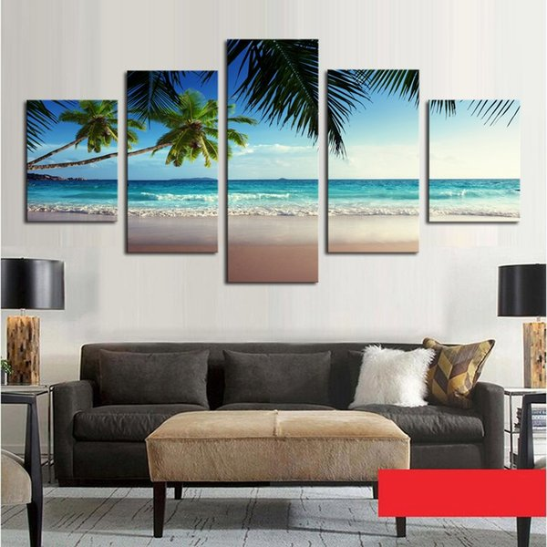 Canvas Wall Artwork Printed Pictures 5 Panels Coconut Trees By The Sea Landscape Painting Modern Home Living Room Decorative
