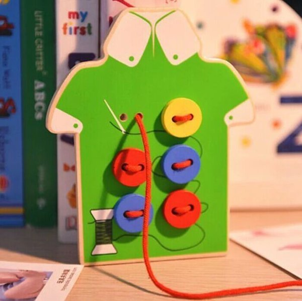Free shipping Wooden Threading board Stitch knitting clothes buttons Children Wooden manual Puzzle Early childhood education Puzzle toy