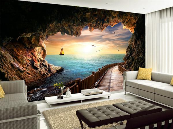 Großhandel Benutzerdefinierte Fototapete Schöne Sonnenuntergang Höhle Meer  Landschaft 3D Wandbild Wohnzimmer Esszimmer Moderne Kreative Tapeten Von ...